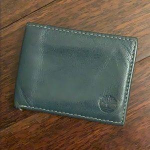 Green Leather Timberland Bi-fold Wallet